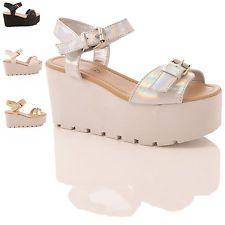 Para Mujer Cuña Sandalias Suela Gruesa Verano plano Plataforma Zapatos Talla 5-10