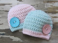 Crochet Twin Girl Baby Beanie Hat Photography Prop Shower Gift. $29.95, via Etsy.