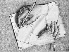 My absolute favorite piece of artwork...MC Esher's Drawing Hands