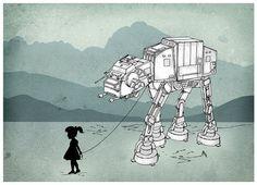 My Star Wars ATAT Pet.  Digital Art Print 5 X 7.  by EngramClothing, $9.00
