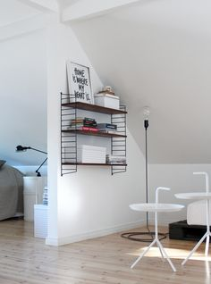 Libreria Design house Stockholm cord lamp, HAY DLM tables, Jieldé table lamp, Compobinili by Kartell, String shelf.