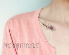 temporary tattoo peacock feathers feather plume by prosciuttojojo