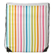 Drawstring Backpack with Stripe Patterns