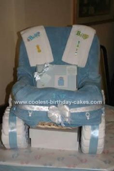 I made this Carriage Diaper Cake for my first nephew Zachary, who was born on Valentine's Day 2010. It was made from a storage basket, large blanket, ribbon,