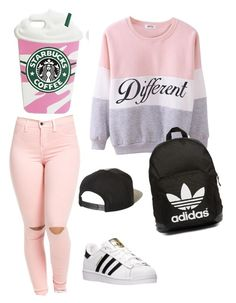 """""""pink"""" by suhfranco ❤ liked on Polyvore featuring adidas, adidas Originals, Brixton, Pink, swag and follow"""