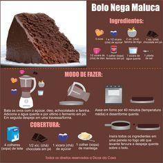Receita Bolo Nega Maluca. Veja esta e outras em nosso blog: http://dicasdacasa.com/bolo-nega-maluca/