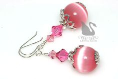 October Birthstone Earrings | Pink Cats Eye and Rose Swarovski Crystals Earrings | Crystal Allure Beaded Jewelry Creations