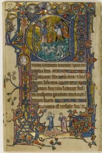 The Annunciation to the Shepherds, courting scene, St Dunstan and the devil Folios 139 (verso) and 140 (recto) macclesfield psalter