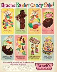 Vintage Ad for 1961 Brach's Easter Candies Ad. Easter Candy, Hoppy Easter, Easter Art, Easter Food, Easter Treats, Easter Decor, Easter Eggs, Retro Advertising, Vintage Advertisements