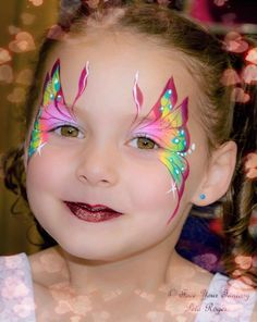 Beautiful butterfly Face Painting Images, Face Painting Tips, Girl Face Painting, Face Painting Tutorials, Face Painting Designs, Body Painting, Face Paintings, Butterfly Makeup, Butterfly Face