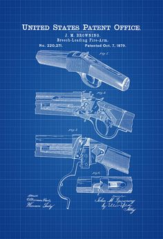 Winchester Single-shot Rifle Patent - Patent Print Wall Decor Gun Art Firearm Art Pump-action shotgun Shotgun Patent Browning Patent by PatentsAsPrints