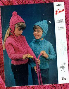 Items similar to Original Vintage Baby Kids Bobble Bonnet Hat & Jumper Knitting Pattern EMU 6442 ARAN Cable Kids Children Girl Boy Pink Blue on Etsy Aran Knitting Patterns, Crochet Patterns, Double Knitting, Baby Knitting, Aran Jumper, Knitted Hats, Crochet Hats, Sweater Hat, Vintage Knitting