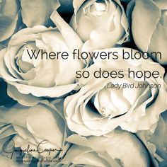 Where flowers bloom so does hope.~Lady Bird Johnson~Photo and quote design by Jacqueline Cooper~You can join the soulful journey at myaspiringsoulfullife.com for inspirational and mindful quotes, images, poems and short stories. Just click on the visit link below.