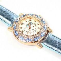 Hot výprodej Vysoce kvalitní hodinky Hello Kitty Děti Ženy Fashion Crystal  Dress náramkové hodinky New Arrival   1728 8a0ee12747d