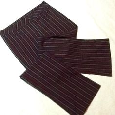 ❤️ RED, BLACK AND WHITE PINSTRIPE TROUSERS ❤️ Dress trousers with red, black and white stripes.  Polyester, rayon and spandex gives a bit of stretch.  Invisible front zipper and semi-wide waistband.  Like new condition. My Michelle Pants Trousers