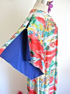 This dress SOLD via my Etsy shop.  Sz. M-L, 40s Rayon Muu, Pake Muu Hawaii Tiki, by Iolani, Novelty Print, Long Maxi Lounge Dress