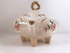 Antique Shabby Chic Ceramic Candy Dish - White Lidded Candy Dish Gold Trim Pink Flowers by VintageVybe on Etsy