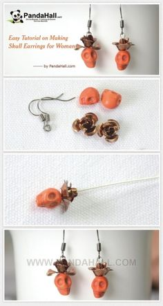 Easy Tutorial on Making Skull Earrings for Women | easy crafts by wanting