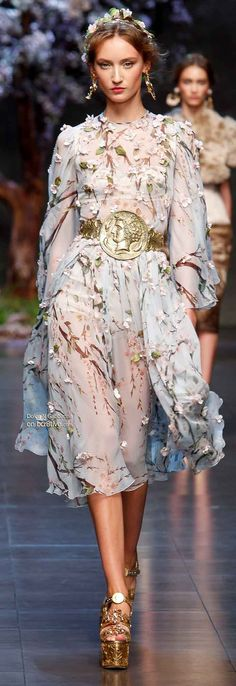 Sicilian Almond Blossoms and Greco Roman times, as seen at - Dolce & Gabbana Spring 2014