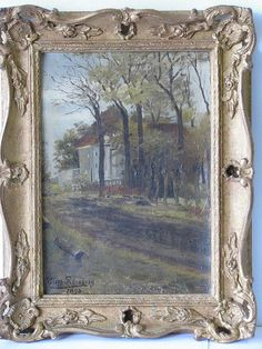 Eugene Rensburg, Dutch Oil on Canvas depicting wooded lane with building behind, signed and dated in gilt frame, x Gouda, 15th Century, View Image, Worlds Largest, Oil On Canvas, Dutch, Past, Auction, Antiques