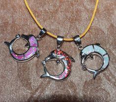 fire opal Cz necklace pendant gemstone silver jewelry cocktail Dolphin design M #Pendant