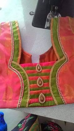 Patch Work Blouse Designs, Simple Blouse Designs, Stylish Blouse Design, Blouse Back Neck Designs, Salwar Neck Designs, Silk Saree Blouse Designs, Bridal Blouse Designs, Sari, Kurti Sleeves Design