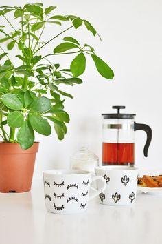DIY eyelash & cactus mug