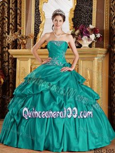 Turquoise Quinceanera Dress by Taffeta with Appliques and Pick-ups