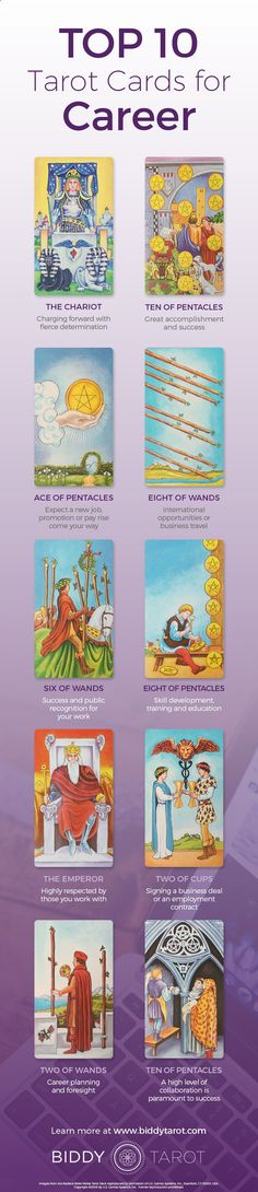 Everyone wants a job that satisfies their soul. When these #Tarot cards appear in a reading, you're on the right track to #success in your #career. Download your free copy of my Top 10 Tarot Cards for love, finances, career, life purpose and so much more at www.biddytarot.co... It's my gift to you!
