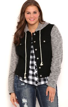 Deb Shops Plus Size YMI Black Denim Jacket with Knit Sleeves and Detachable Hood $27.30