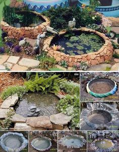 Tractor Tire Pond, I do like this and would never tell anyone not to surprise me by waking up to this in my yard.Tractor Tire Pond - Got a few of these laying around!Tractor Tyre Pond More (Diy Garden Fountain)Tractor Tyre Pond For relaxing after Farm Cam Tire Garden, Garden Art, Easy Garden, Willow Garden, Ponds Backyard, Backyard Landscaping, Garden Ponds, Backyard Ideas, Landscaping Ideas