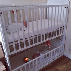 A bunk cot for twins or siblings close in age. Perfect if you are looking for space-saving equipment.