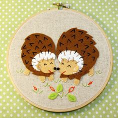 Hedgehogs Applique and Embroidery Kit, Felt Hedgehogs, Beginner Embroidery Kit, DIY Sewing, Hand Stitching - 'Hedgies' Hoop Kit Heidi Boyd