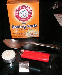 """Crack cocaine is said to be the most addictive form of cocaine A short but intense high. Crack appeared primarily in impoverished inner-city neighborhoods in NY, LA, and Miami in late 1984 and 1985. Crack cocaine - in order for cocaine converted to crack, several supplies are needed. Pictured here are baking soda, a commonly used base in making crack, a metal spoon, a tealight, and a cigarette lighter. The spoon is held over the heat source in order to """"cook"""" the cocaine into crack."""
