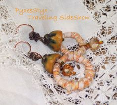 """""""Good Day Sunshine"""" - mismatched hoop earrings, bohemian fiber wrapped rings, crystals, ceramic bead caps #PyxeeStyx #TravelingSideShow #SRAJD"""