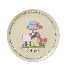 Little Bo Peep plate with a nursery rhyme and your custom text.