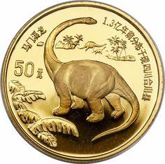 1995 People's Republic of China,  Dinasaur Series - Brontosaurus 50 Yuan gold coin 15.5517 g.
