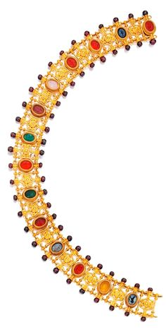 Castellani - An Archaelogical-Revival Gold, Hardstone and Garnet Necklace, Circa 1870. Set with 14 oval-shaped hardstone intaglios carved in Classic motifs, spaced by links of scrollwork design, bordered by 56 garnet beads, signed with interlaced C's within cartouche surrounds in two places; detaches intro three sections. #Castellani #antique #necklace