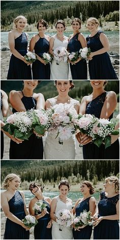 Bridesmaids in dark blue dresses. Blush and white bouquets. Canmore wedding in the mountains. Quarry Lake Park in Canmore. Navy Blue Bridesmaid Dresses, Wedding Bridesmaids, Blue Dresses, Wedding Dresses, Quarry Lake, Theatre Wedding, White Bouquets, Wedding Photos, Party Photos