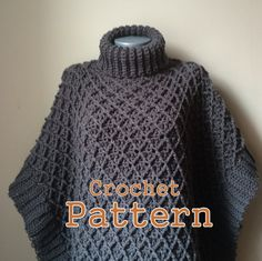 PDF Crochet Pattern Harlequin Poncho Cape by RightBrainCrochet1