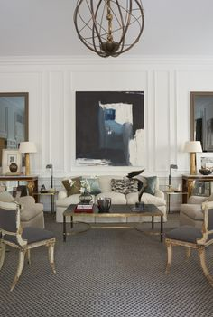 Matthew Patrick Smyth Holiday House NYC // standout pieces include white & gilt klismos chairs & abstract art