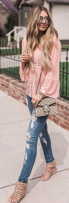 #spring #outfits Pink Blouse + Ripped Skinny Jeans + Beige Open Toe Sandals