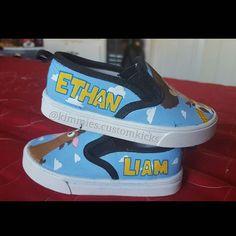Toy story theme for Ethan Liam. #kimmiescustomkicks #handpaintedshoes #kimberlys_creations #customshoes #toystory #toystoryshoes #woody #sheriffwoody #bullseye #toystorykicks