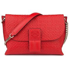 LOEWE Avenue Embossed Leather Chain Shoulder Bag ($990) ❤ liked on Polyvore featuring bags, handbags, shoulder bags, apparel & accessories, hand bags, red hand bags, red leather shoulder bag, leather hand bags and purse shoulder bag