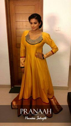 Yellow silk gown- Pranah
