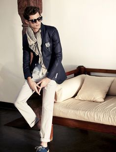 Pale neutral chinos with denim blazer and light weight scarf - perfect for indecisive weather.