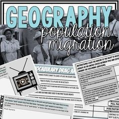 This population migration activity focuses on the period in U.S. History, the Great Migration.This lesson is appropriate for both Geography and U.S. History classes. This lesson makes a great distance learning activity. In this lesson students will:Analyze why populations increase or decrease in var...