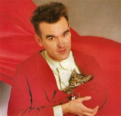 Morrissey with cats