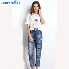 2017 New Women Straight Skinny Jeans Fashion Ripped Holes High Waist Denim Pants Womens Washed Denim Jeans Cotton Trousers