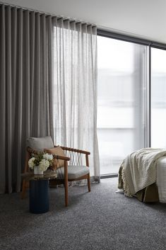 Balcony Curtains, Airy Bedroom, Living Room Drapes, Master Suite, Interior Architecture, Townhouse, Serenity, Studio, Drapery